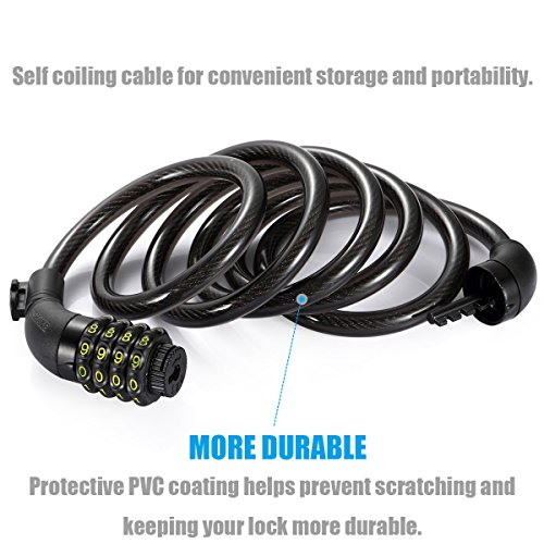 UShake Bike Lock Cable, 6-Feet Bike Cable Basic Self Coiling Resettable Combination Cable Bike Locks with Complimentary Mounting Bracket, 6 Feet x 1/2 Inch by UShake (Image #1)