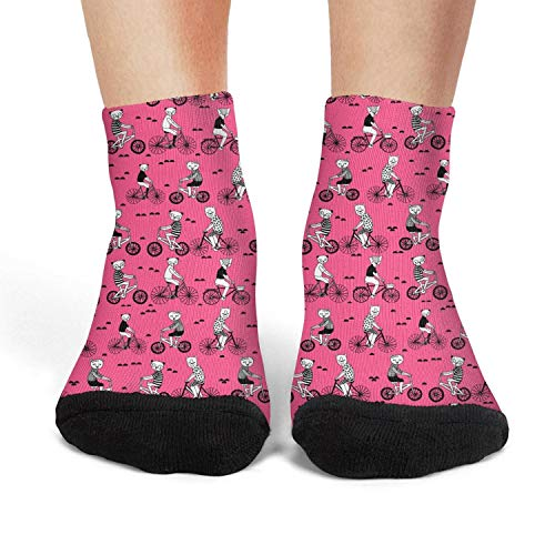 Panda bear on bicycle funny winter short socks for womens