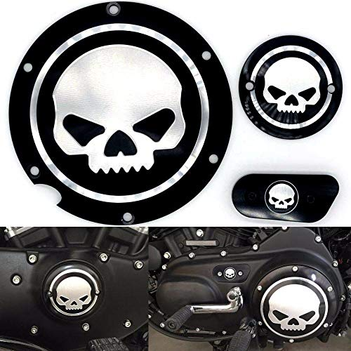 Motorcycle Black Chrome Skull Timing Accessories Engine Derby Timer Cover For Harley Sportster Iron XL 883 1200 04-14 (Pack of 3pcs) (Harley Engine Parts)