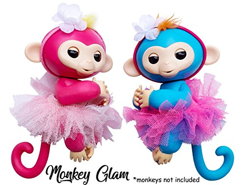 Monkey Glam   4 Piece Glamorous Reversible Tutu And Headband Set   Perfect For Dolls And Interactive Baby Monkeys   Great Xmas Gift Accessory  Pink White