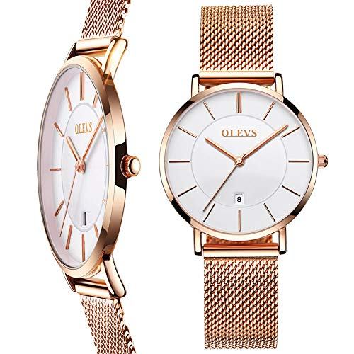(Rose Gold Ladies Watches with Stainless Steel,Thin Women Watches with Date,Ladies Quartz Wristwatches Waterproof,Casual Watches for Women on Sale,Watch Women with White Dial,Simple Quartz Lady Watch)