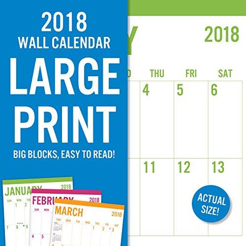 "Avalon 2018 Large Print - Basic Wall Calendar, 12"" x 12"" (82388)"