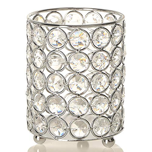 VINCIGANT Silver Cylinder Crystal Tealight Candle Holder Candlesticks/Pen Holders for Home Office Decoration with LED Copper Wire String Light (Candle Beaded Holder)