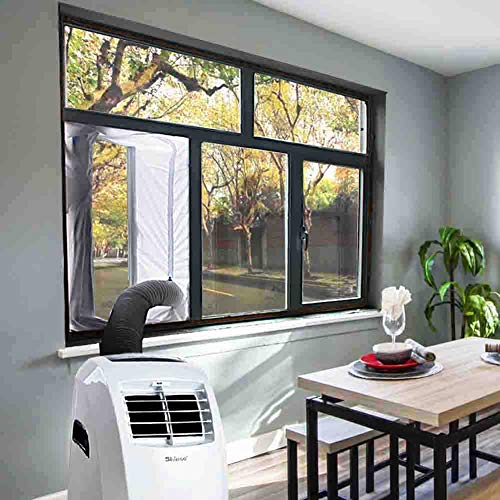 JOYOOO Airlock Window Seal for Portable Air Conditioner and Tumble Dryer Room Air Conditioning Casement Window Vent kit Hot Air Stop Air Exchange Guards with Zip and Adhesive Fastener(White, 300cm)