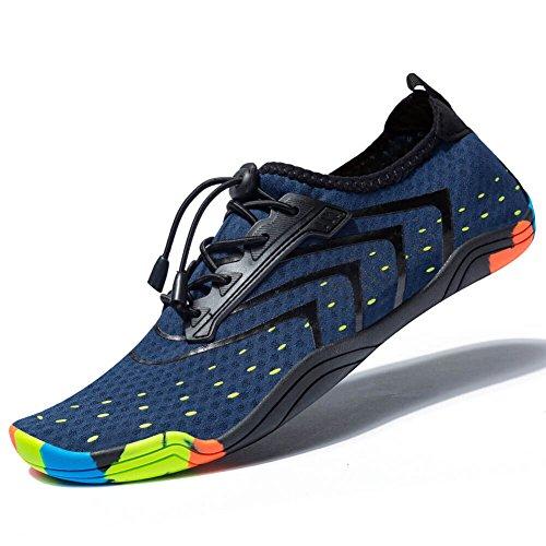 MEET Women Men Unisex Lightweight Water Shoes Quick-Dry Barefoot Flexible Beach Swim Shoes… Blue