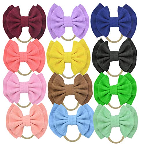 Qandsweet Baby Girl's Headbands and Bows Hair Accessories (12Pcs Newest07)