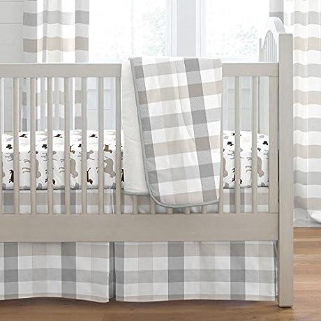 Carousel Designs Gray And Taupe Buffalo Check 3 Piece Crib Bedding Set