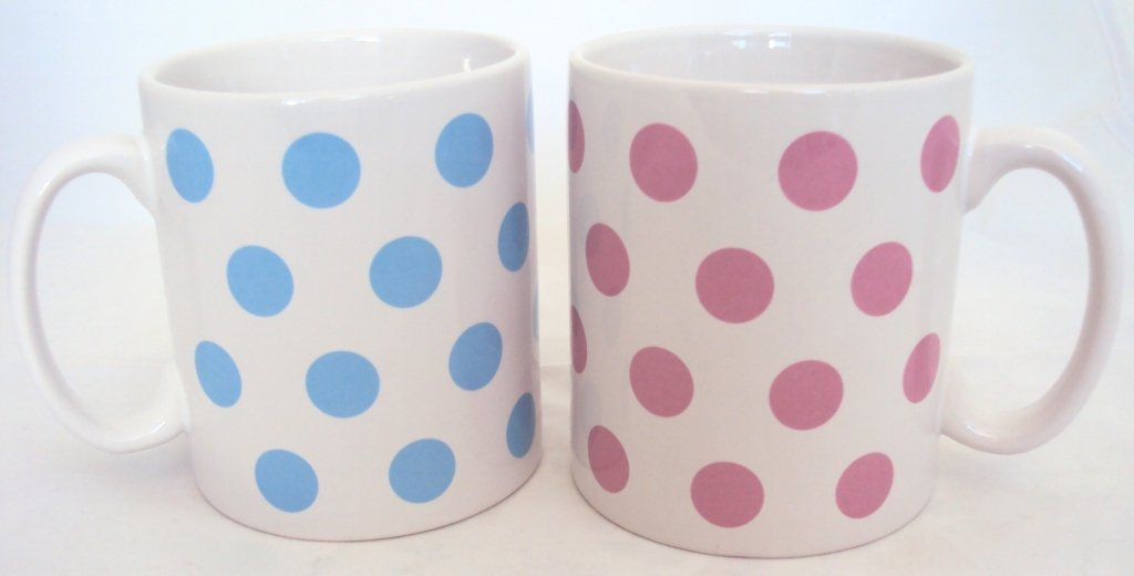 Blue and Pink Spots Mugs Set of Six 3 Blue 3 Pink Porcelain Ceramic Cups Hand Decorated UK