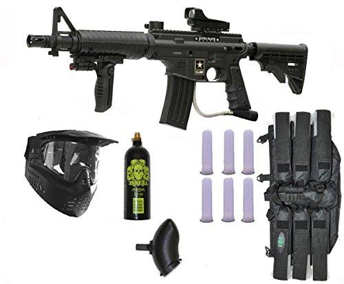 US Army Alpha Black Elite Paintball Marker Gun 3Skull Deluxe Mega Set by Tippmann