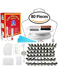 Cake Decorating Supplies - (80 PCS SPECIAL CAKE DECORATING KIT) With 48+7 PCS Numbered Icing Tips, Cake Rotating Turntable and More Accessories! Create AMAZING Cakes With This Complete Cake Set!
