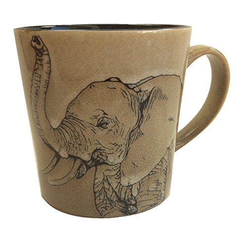 Elephant Mug Coffee (Unison Gift Large Ceramic 16 Oz. Mug with Stencil Style Safari Elephant Design)
