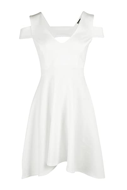 8ab195e962f4 Boohoo Womens Clea Bardot Plunge High Low Skater Dress in Ivory size ...
