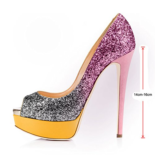 Party Wedding Multicolor Slip Glitter On Dress onlymaker Women's Peep Toe Shoes Heels High Sexy Stiletto Pumps Platform xg7YwOZq