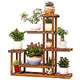 UNHO Wooden Flower Stands Plant Display Stand Wood Pot Shelf Storage Rack Outdoor Indoor 6 Pots Holder 96x95x25Cm