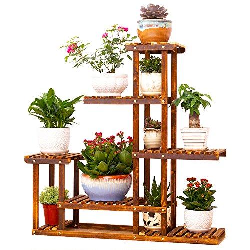 Wooden Plant Flower Display Stand Wood Pot Shelf Storage Rack Outdoor Indoor 6 Pots Holder 96x95x25cm