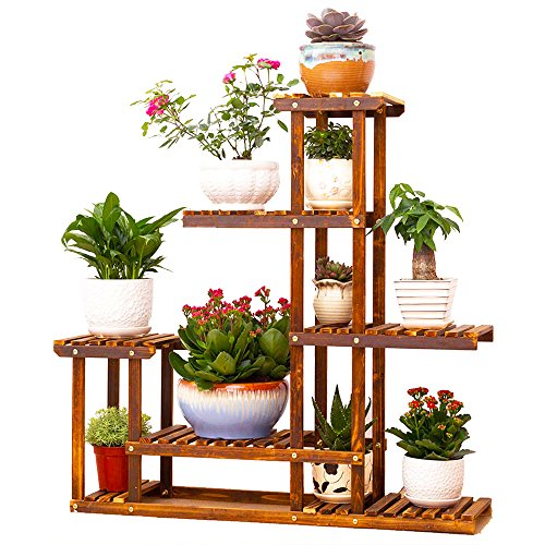 Flower Stand - UNHO Wooden Flower Stands Plant Display Stand Wood Pot Shelf Storage Rack Outdoor Indoor 6 Pots Holder 96x95x25Cm
