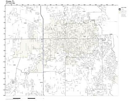 Map Of Ocala Florida.Amazon Com Zip Code Wall Map Of Ocala Fl Zip Code Map Laminated