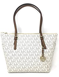 Jet Set Item Large East West Signature Top Zip PVC Tote (Vanilla / Luggage)