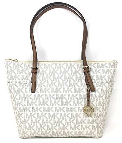 Michael Kors Jet Set Item Large East West Signature Top Zip PVC Tote (Vanilla / Luggage) ()