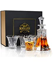 KANARS Whisky Decanter and Glasses Set, Lead Free Crystal, with 4 Glass Tumbler, Luxury Gift Box for Men Dad Husband, 5-Piece