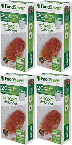 FoodSaver 1-Quart Precut Vacuum Seal Bags with BPA-Free Multilayer Construction for Food Preservation, 20 Count Pack of 4