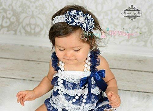9ba819b1c6ca Amazon.com  Girl s Navy Stripe Blue Lace Dress set