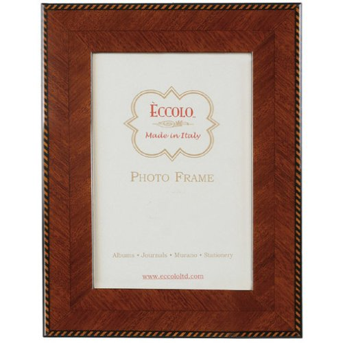 Eccolo Made in Italy Marquetry Wood Frame, Herringbone With Border, Holds an 8 x 10-Inch Photo