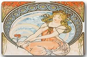 Hermosa diosa Alphonse Mucha felpudos cubierta antideslizante lavable a máquina interior y exterior para cuarto de baño decoración de la cocina alfombra Felpudo de bienvenida