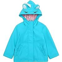 Rokka&Rolla Girls' Lightweight Raincoat Hooded PU Waterproof Windbreaker Active Outdoor Rain Jacket Anorak