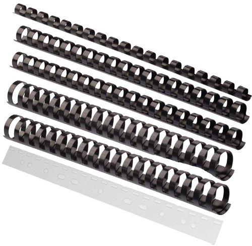 Sortiment 150 Teile / Binderücken (6 - 19 mm) schwarz + Abheftstreifen FALAMBI