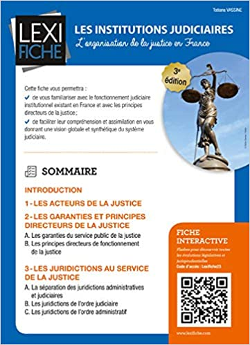Book's Cover of Les institutions judiciaires : L'organisation de la justice en France (Français) Broché – 21 octobre 2016