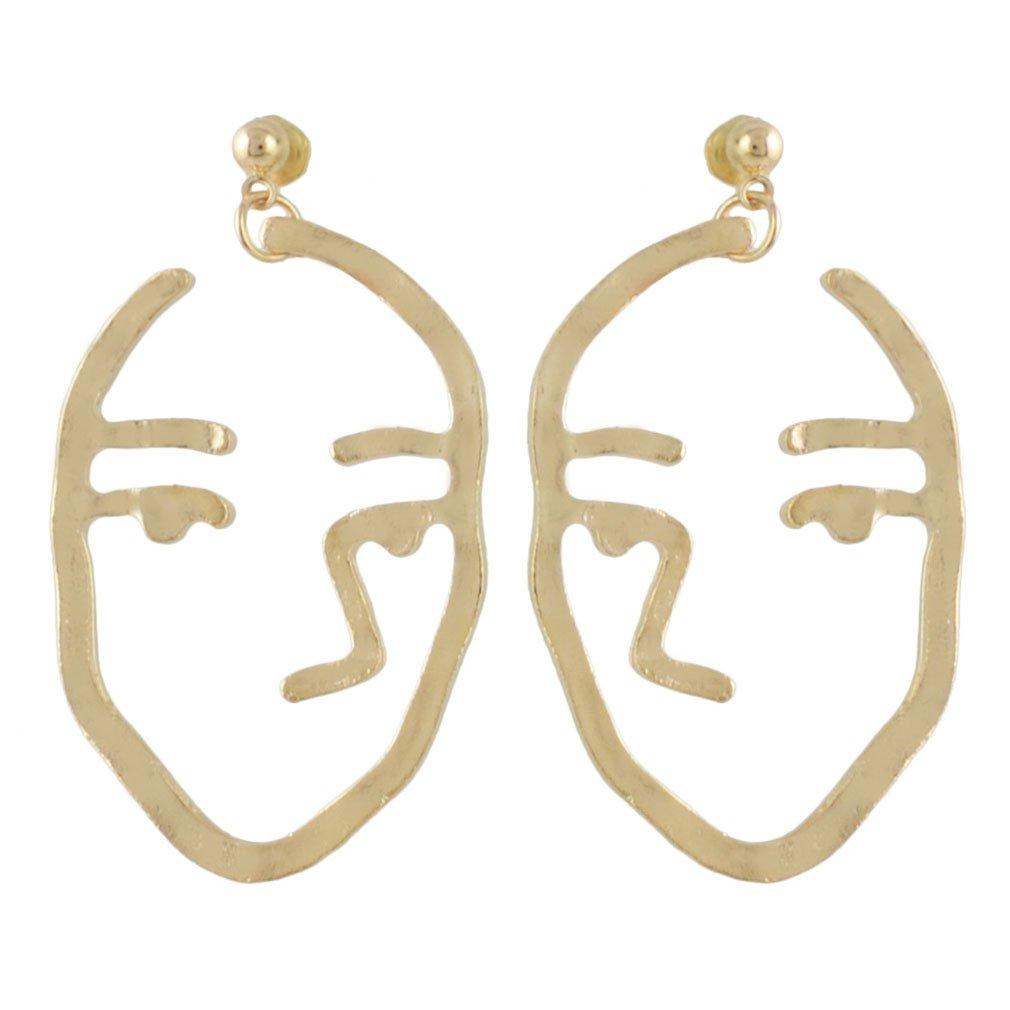 Jinxian Gold Plated Drop Earrings Vintage Dangling Studs Boho Hook