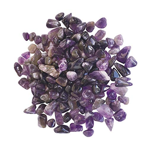 Homankit 1 lb Natural Amethyst Tumbled Chips Stone Healing Crystal 0.6