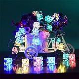 Xcellent Global Striscia Luminosa con 40 Luci LED Natalizie Colorate a Forma di Cubetti di Ghiaccio Alimentate a Batteria per Giardini, Cortili,Alberi di Natale, Matrimoni, Feste, Interni I-LD076