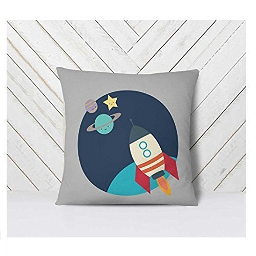 Space Pillow Case, Kids Space Room, Space Throw Pillowcase, Kids Rocket Ship Pillow Cover, Astronaut Decor, Space Themed Nursery, 16x16 (Faux Fur Chair Blush Butterfly)