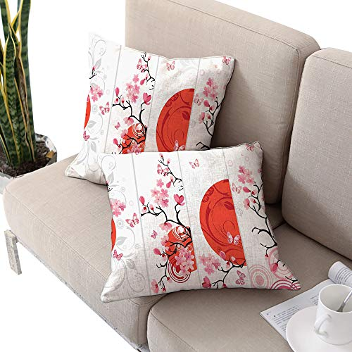 - Nature Square Chaise Lounge Cushion Cover,Cherry Blossom Illustration Abstract Sun Butterflies Festive Art Design Orange Pale Pink White W14 xL14 2pcs Cushion Cases Pillowcases for Sofa Bedroom Car