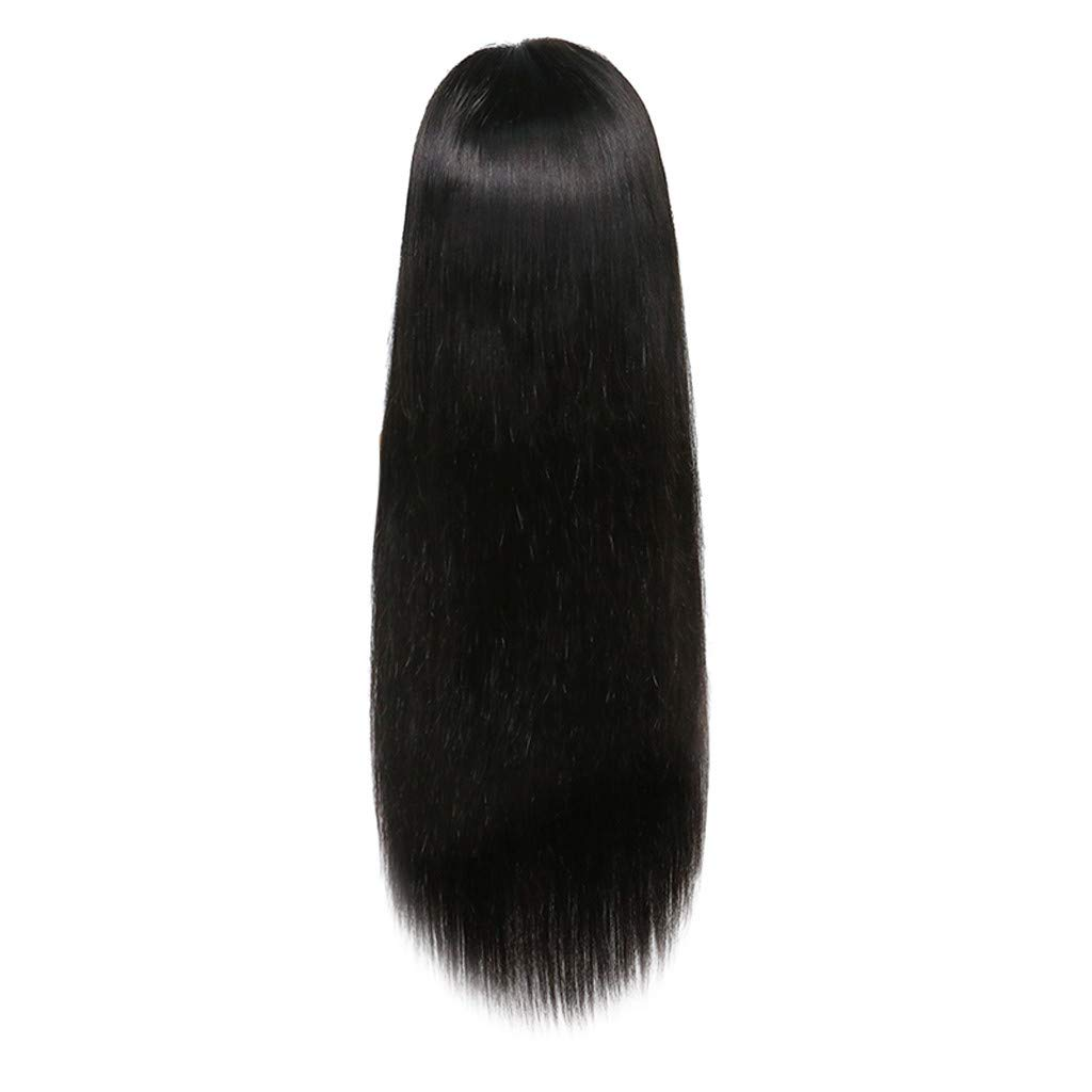 Women Long Wigs, 26inch Silky Straight Lace Front Wig Black Middler Party Brazilian Human Hair Shipping from USA (Black, 26inch)