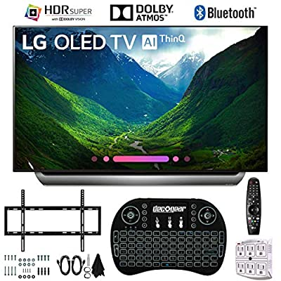 """LG OLED55C8PUA 55"""" C8 OLED 4K AI TV with 2.4GHz Wireless Backlit Keyboard, Slim Wall Mount Kit Ultimate Bundle and 750 Joule Surge Protector (2018 Model)"""