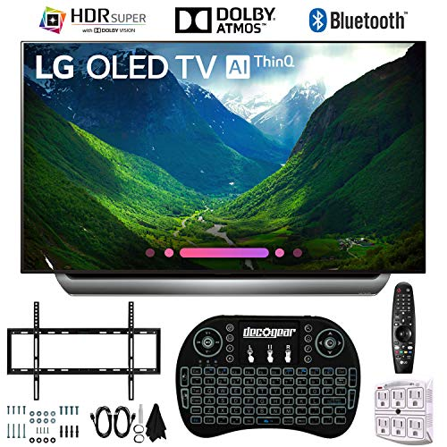 LG OLED55C8PUA 55″ C8 OLED 4K AI TV with 2.4GHz Wireless Backlit Keyboard, Slim Wall Mount Kit Ultimate Bundle and 750 Joule Surge Protector (2018 Model)