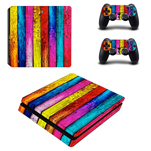 Chickwin PS4 Slim Vinyl Skin Full Body Cover Sticker Decal For Sony Playstation 4 Slim Console & 2 Dualshock Controller Skins (Wood - Wills Voucher Jack Uk
