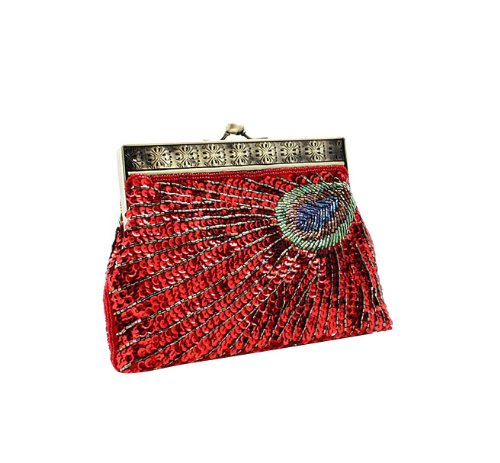 Ladies Dazzling Peacock Handmade Evening Handbag, Wedding Party Purse Wallet Clutch-Red, Bags Central