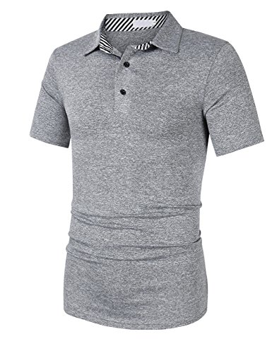Yong Horse Men's Casual Classic Golf Polo T Shirts Athletic Short Sleeve M Grey (Horse New Blue Shirt)