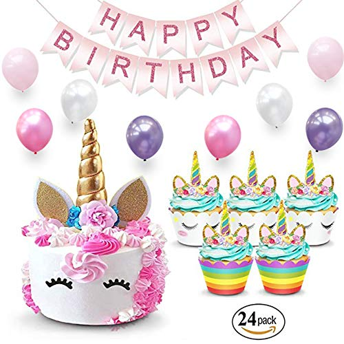 - Unicorn Cake Topper & Rainbow Cupcake Wrappers Kit (Set Includes Horn, Ears, Eyelashes) + Happy Birthday Banner Decor | Unicorn Theme Decorations & Supplies Pack - Favors For Kids Party