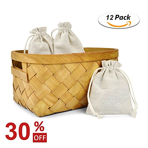 Cotton Drawstring Muslin Bags Linen Pouches Burlap Bags Souvenir Gift Bag Reusable Bags for Wedding Party Favor and DIY Craft 12 Pack (Small(3.5x5.1 Inches)) (Easy No Mess Halloween Crafts)
