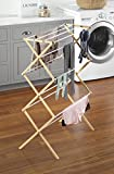 Whitmor Drying Rack with Top Shelf-Indoor and Outdoor-Foldable-Natural, Wood