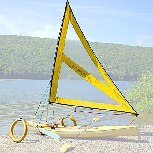 Serenity Upwind Kayak Sail and Canoe Sail Kit (Yellow). Complete with Telescoping Mast, Boom, Outriggers, Lee Boards, All Rigging Included! Compact, Portable, Easy to Set up - Makes a great gift!! by Sailskating