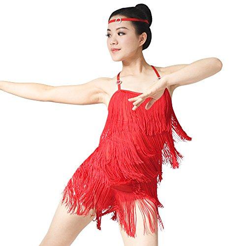 MiDee Latin Costume Dance Dress Camisole 5 Tires Fringed ...