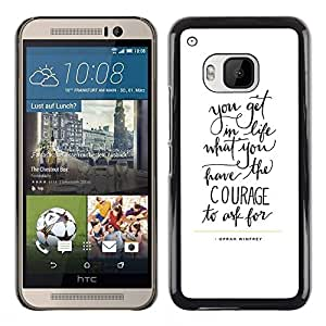 Coraje Cartas texto de motivación inspiradora- Metal de aluminio y de plástico duro Caja del teléfono - Negro - HTC One M9