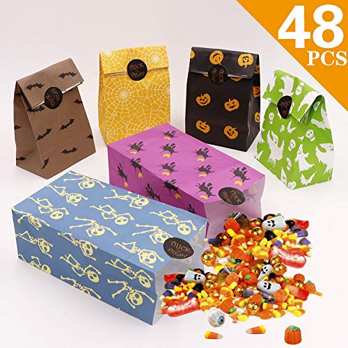 AerWo 48pcs Halloween Treat Bags Paper Gift Bags, Goody Bags with Halloween Stickers for Halloween Party Decorations Supplies