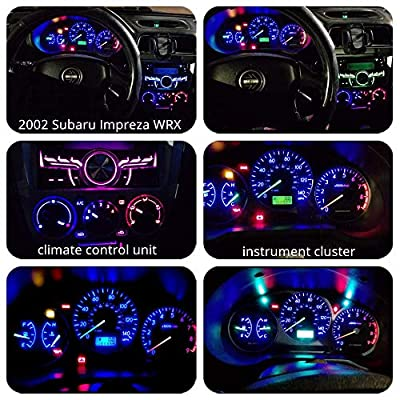 WLJH 74 Led Bulb Dash Lights 3SMD Super Bright T5 2721 37 286 Wedge PC74 Twist Socket Automotive Instrument Panel Gauge Light Kits Cluster Shift Indicator Interior Bulbs Ice Blue Pack of 20: Automotive